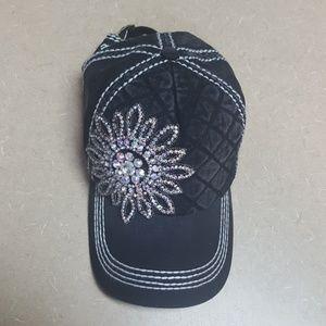 Black sparkly cap